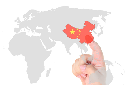 a map the world, highlighting China