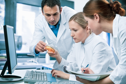 Photo of scientists working together